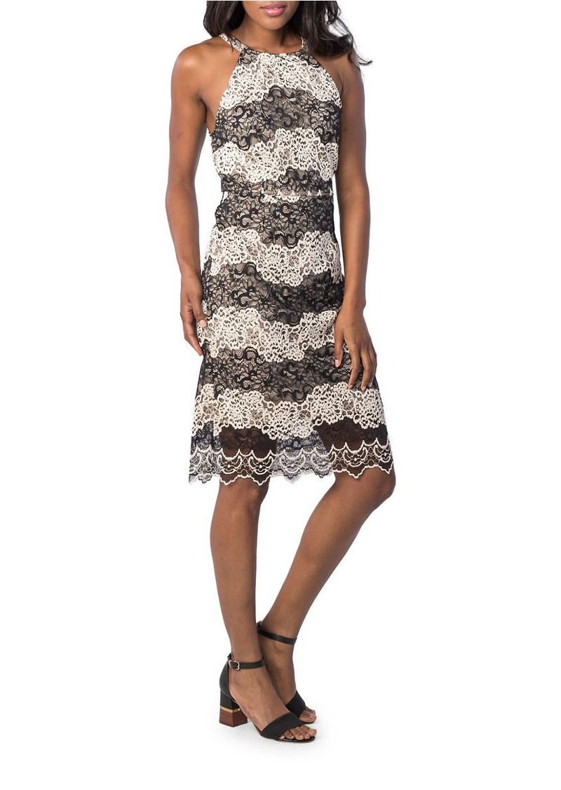 KENSIE Two-Tone Embroidered Lace Dress