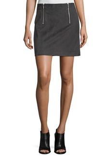 kensie two-zip faux-suede a-line mini skirt