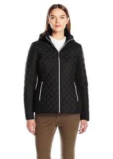 Kensie Women's Active Quilted Jacket with Ponty Detail and Fully Removable Hood  L