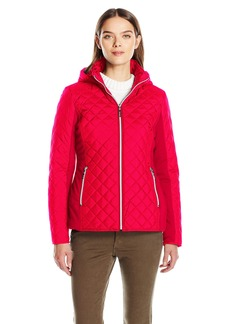 Kensie Women's Active Quilted Jacket with Ponty Detail and Fully Removable Hood  M