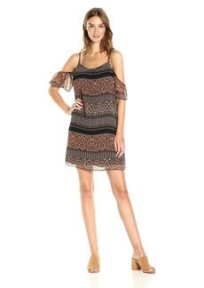 Kensie Women's Animal Mash up Cold Shoulder Dress  L