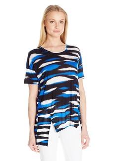 Kensie Women's Animal Stripe Print Top  Small