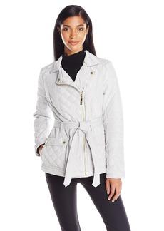 kensie Women's Asymmetrical Diamond Quilt Coat  X-Small