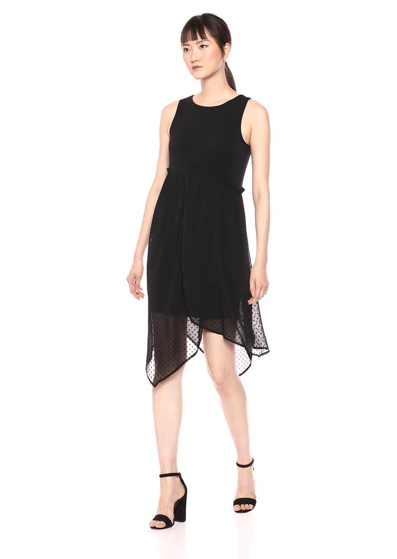 kensie Women's Asymmetrical Hem Mixed Media Dress  L