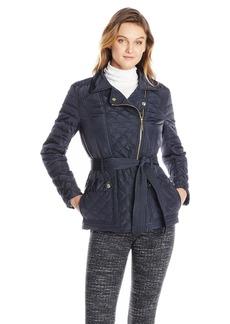 Kensie Women's Asymmetrical Zip Quilted Jacket  arge