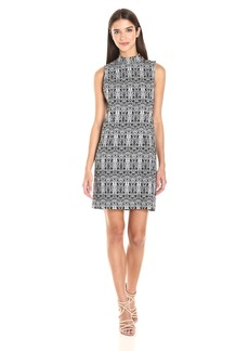 kensie Women's Aztec Print Stretch Shift Dress  L