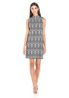 kensie Women's Aztec Print Stretch Shift Dress  S