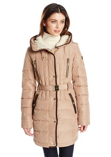 kensie Women's Belted Down Coat with Faux Fur Lined Hood