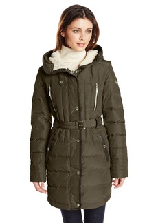 Kensie Women's Belted Down Coat with Faux Fur Lined Hood