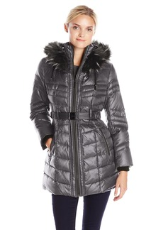 Kensie Women's Belted Down Coat with Multi Color Faux Fur Trimmed Hood  L