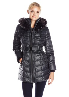 Kensie Women's Belted Down Coat with Multi Color Faux Fur Trimmed Hood  M