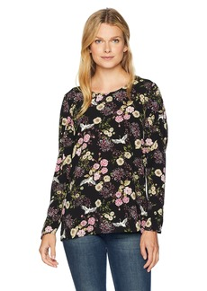 kensie Women's Black Floral Cranes Top Combo XL