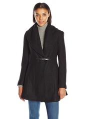 kensie Women's Boiled Wool Skirted Coat with Shawl Collar  L