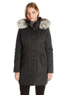 Kensie Women's Bonded Button up Parka with Faux Fur Trimmed Fully Removable Hood  L