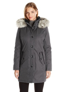 Kensie Women's Bonded Button up Parka with Faux Fur Trimmed Fully Removable Hood  XS