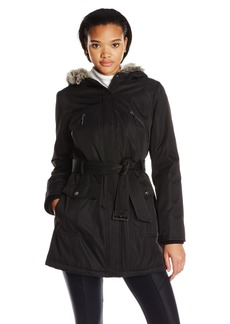 Kensie Women's Bonded Coat with Quilt Lining and Faux Fur Trim