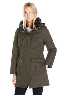 Kensie Women's Bonded Parka Jacket with Adjustable Waist Removable Faux Fur Collar  L