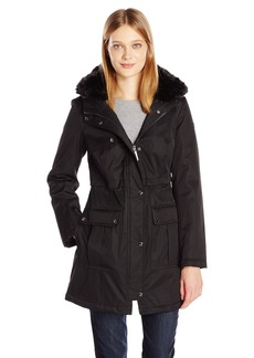 Kensie Women's Bonded Parka Jacket with Adjustable Waist Removable Faux Fur Collar  S