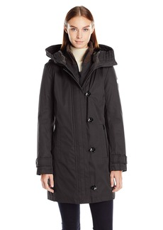 Kensie Women's Bonded Stadium Coat with Knit Collar and Hood  L