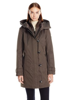kensie Women's Bonded Stadium Coat with Knit Collar and Hood  M