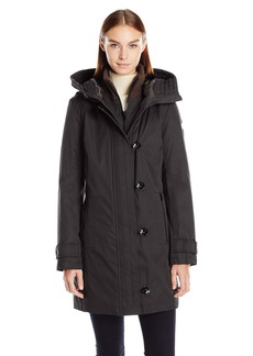 kensie Women's Bonded Stadium Coat with Knit Collar and Hood  S