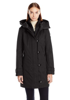 Kensie Women's Bonded tadium Coat with Knit Collar and Hood