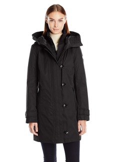 kensie Women's Bonded Stadium Coat With Knit Collar and Hood  XL