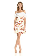 kensie Women's Botanical Floral Cold Shoulder Dress  S