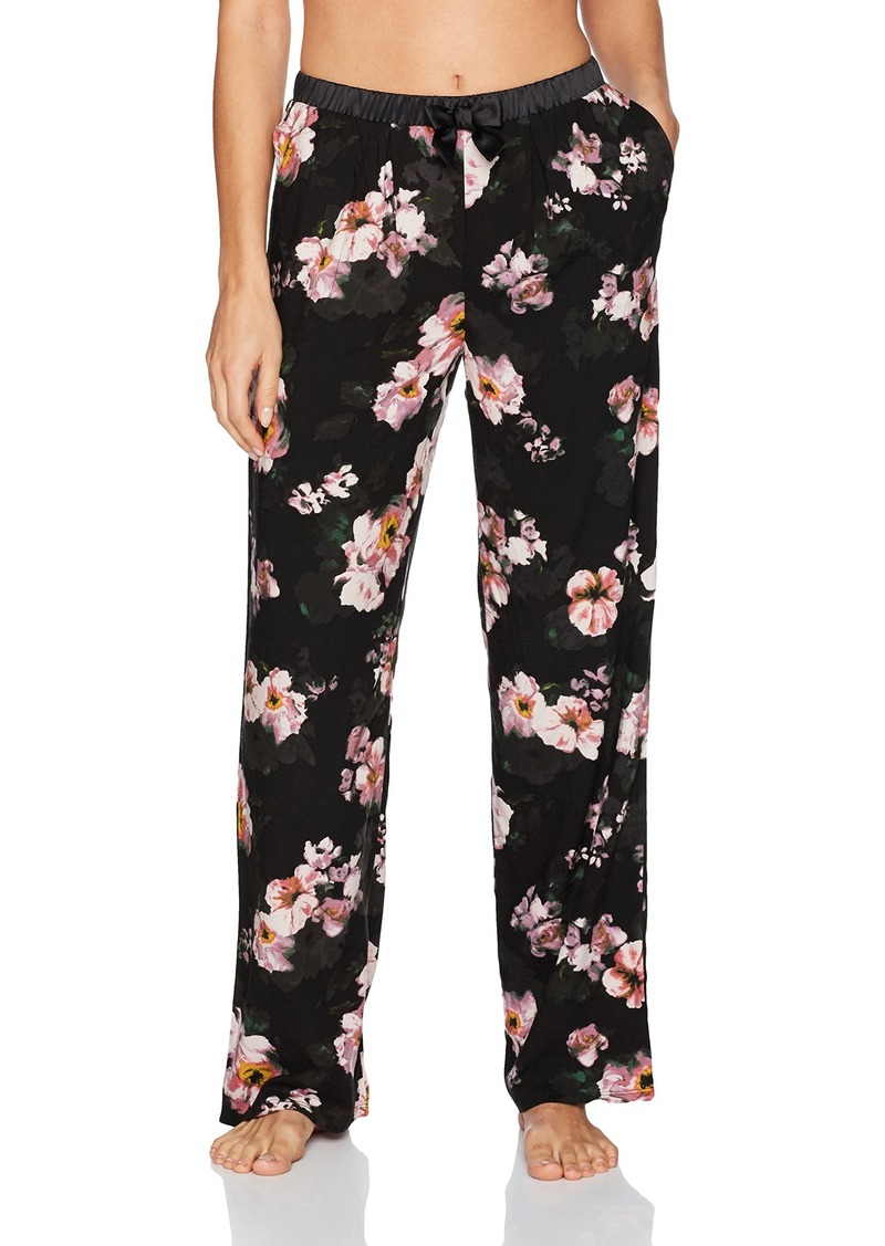 kensie Women's Brushed Floral Long Sleep Pant Black XS