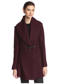 kensie Women's Buckle Front Coat  L