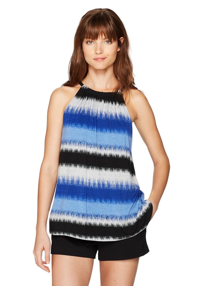 kensie Women's Burst Stripes Top with Braided Straps  XL