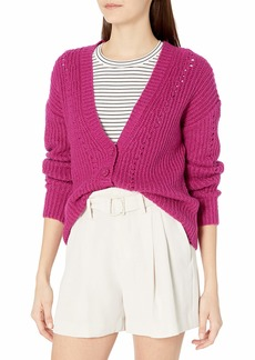 kensie Women's Button Front Cable Knit Cardigan  Extra Small