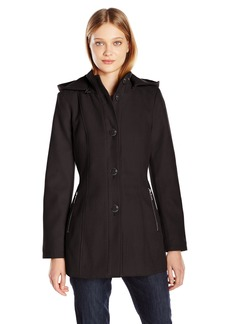 kensie Women's Button Up Wool Jacket with Knit Collar and Fully Removable Hood  L