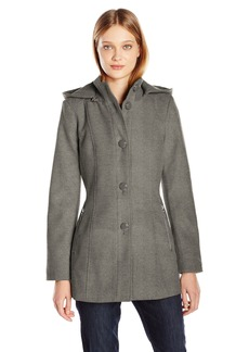 Kensie Women's Button up Wool Jacket with Knit Collar and Fully Removable Hood  S