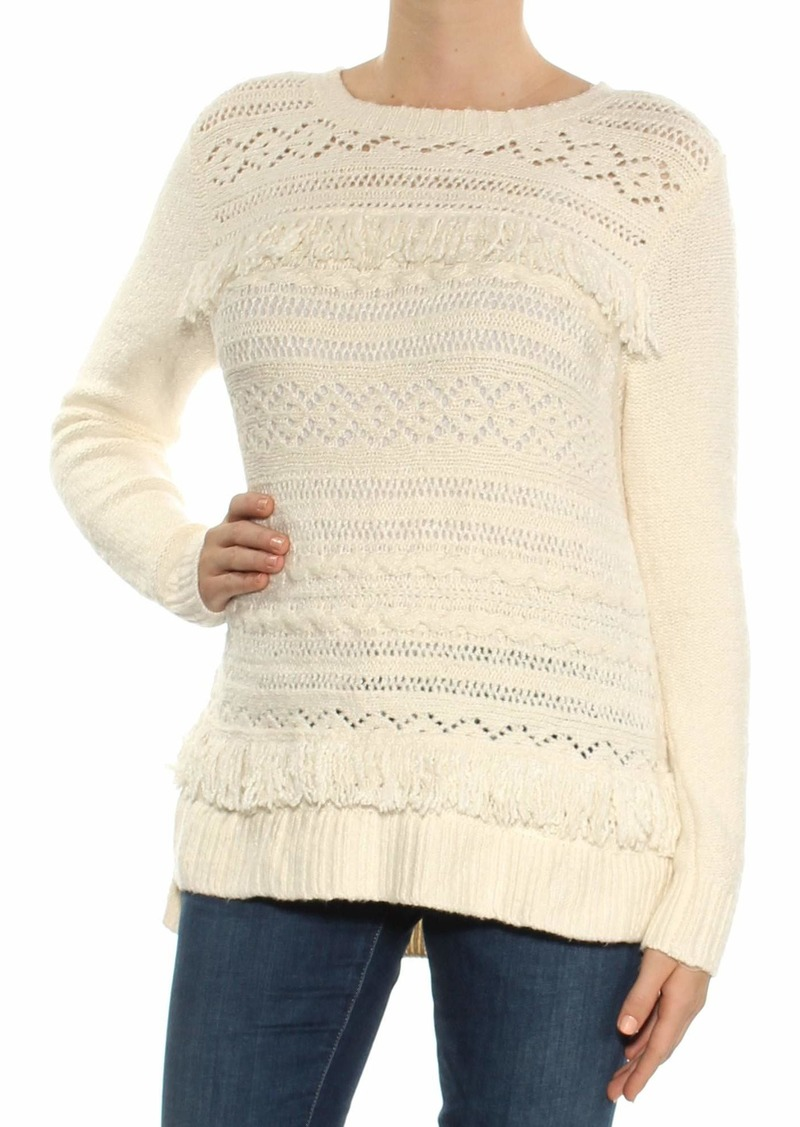 kensie Women's Cable Knit Sweater with Tassel Fringe Detail  M