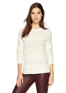kensie Women's Cable Knit Sweater with Tassel Fringe Detail  XS