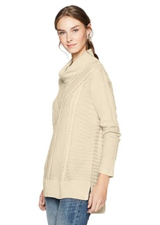 kensie Women's Cable Knit Turtleneck Sweater tusk S
