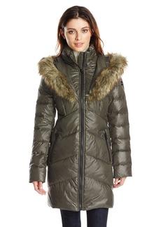 kensie women's chevron down coat with heart faux fur lined hood olive medium