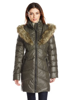 kensie women's chevron down coat with heart faux fur lined hood olive small