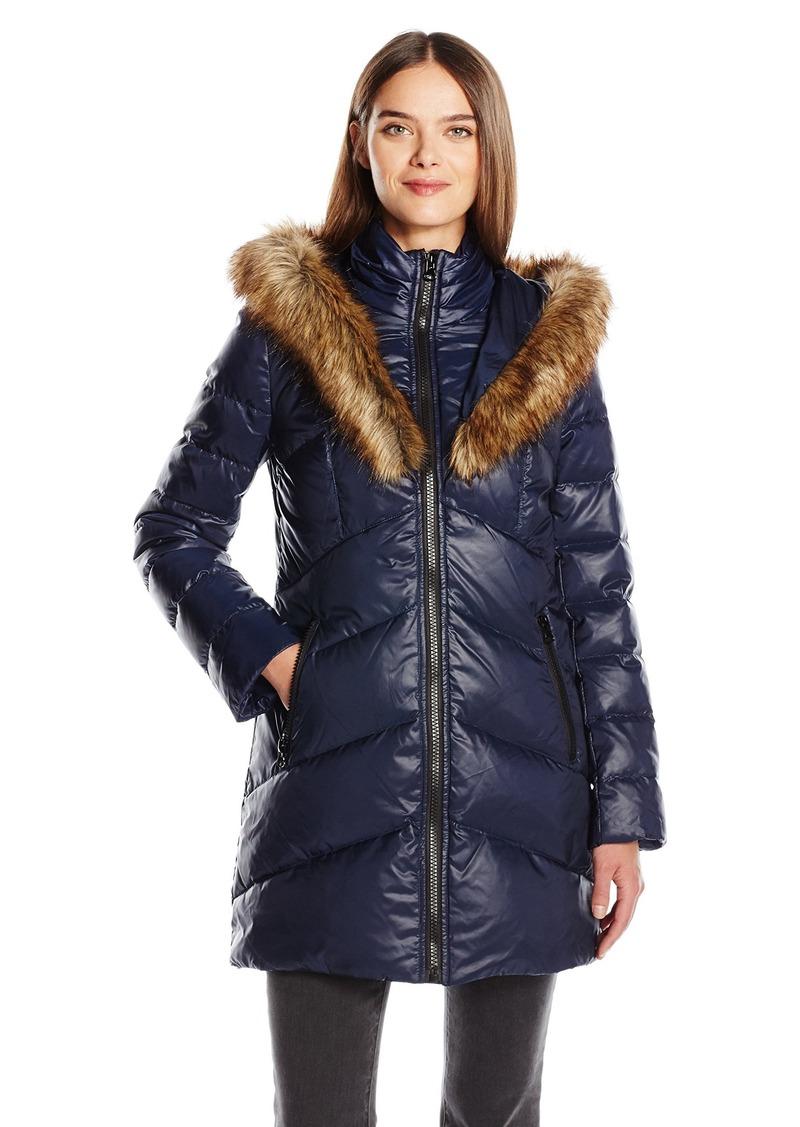 Kensie Women's Chevron Down Coat with Heart Fur Lined Hood  S