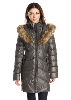 kensie Women's Chevron Quilted Polyfill Coat with Heart Shaped Faux Fur Trimmed Hood  M
