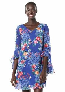 kensie Women's Chiffon Floral Printed Shift Dress