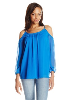 kensie Women's Cold Shoulder Crinkle Chiffon Top  M