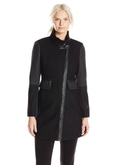Kensie Women's Color Block Wool Coat  X-Large