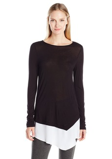 Kensie Women's Colorblock Asymmetrical Long Sleeve Top