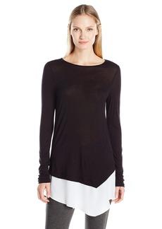 Kensie Women's Colorblock Asymmetrical Long Sleeve Top