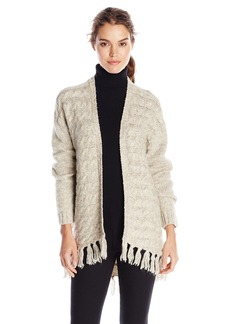 kensie Women's Comfy Knit Open Sweater with Fringe