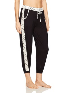 kensie Women's Contrast Cropped Jogger Pant  L