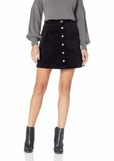 kensie Women's Corduroy Skirt with Button Front  L
