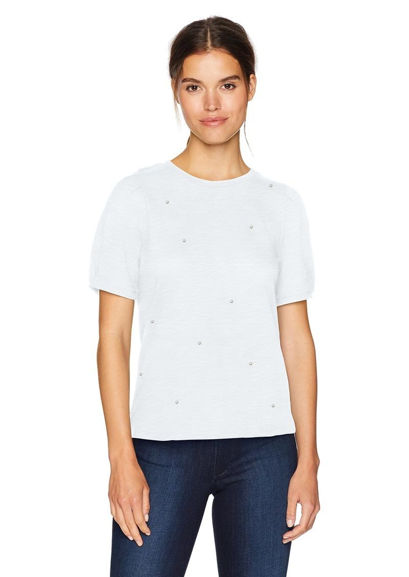 kensie Women's Cotton Beaded Slub Top  XL